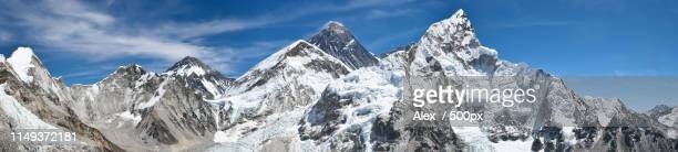 mount everest panoramic photo, nepal - khumbu stock pictures, royalty-free photos & images