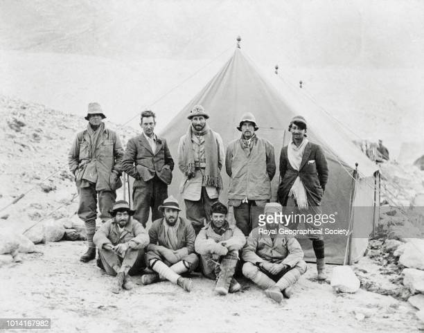 Mount Everest party left to right Irvine Mallory Hazard Odell Hingston Shebbeare Bruce Somervell Beetham Tibet March 1924 Mount Everest Expedition...
