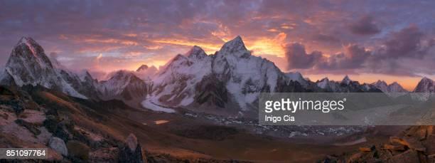 Mount Everest Range at sunrise