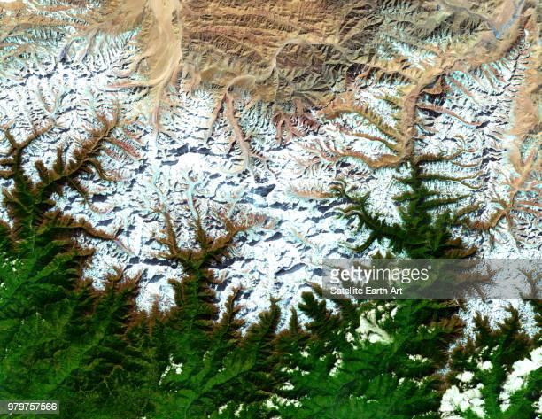 mount everest satellite image, himalaya mountains, tibet, china - satellitenaufnahme stock-fotos und bilder