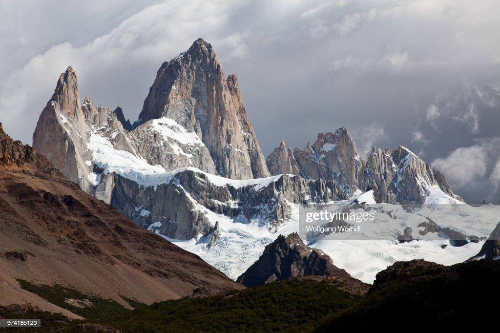 Mount Fitzory in South America covered in snow. : Stock Photo