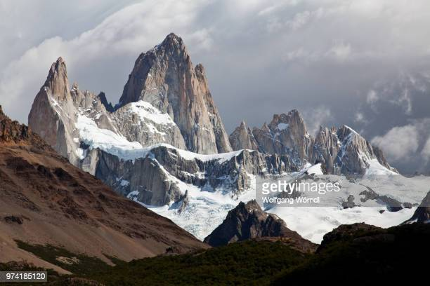 Mount Fitzory in South America covered in snow.