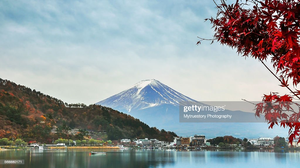 Mount Fuji and red maple : Stock Photo