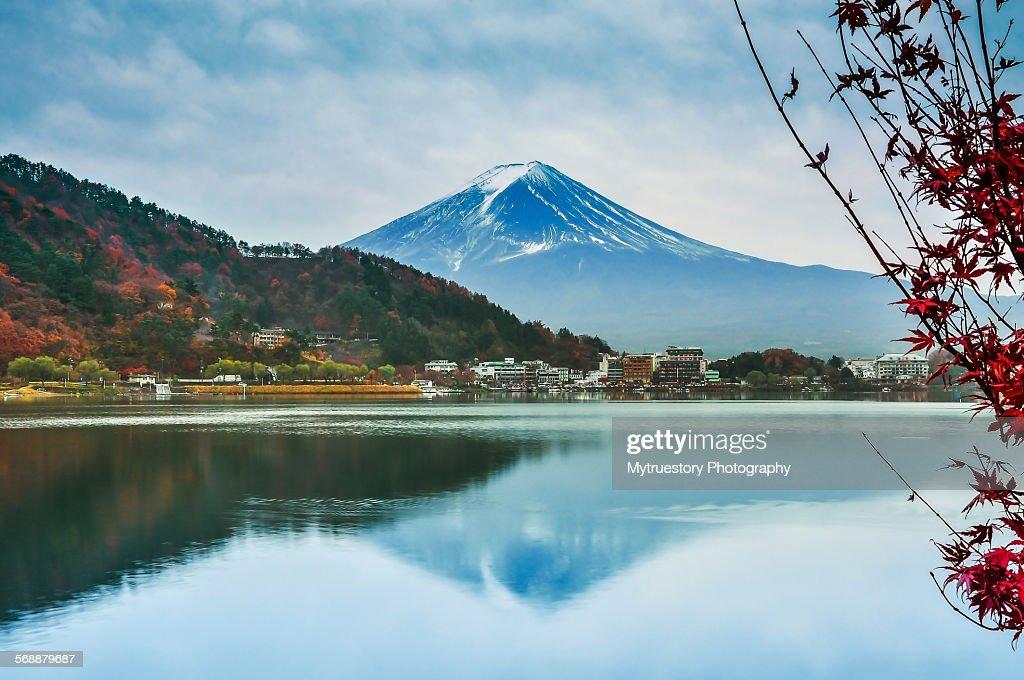 Mount Fuji and reflection : Stock Photo