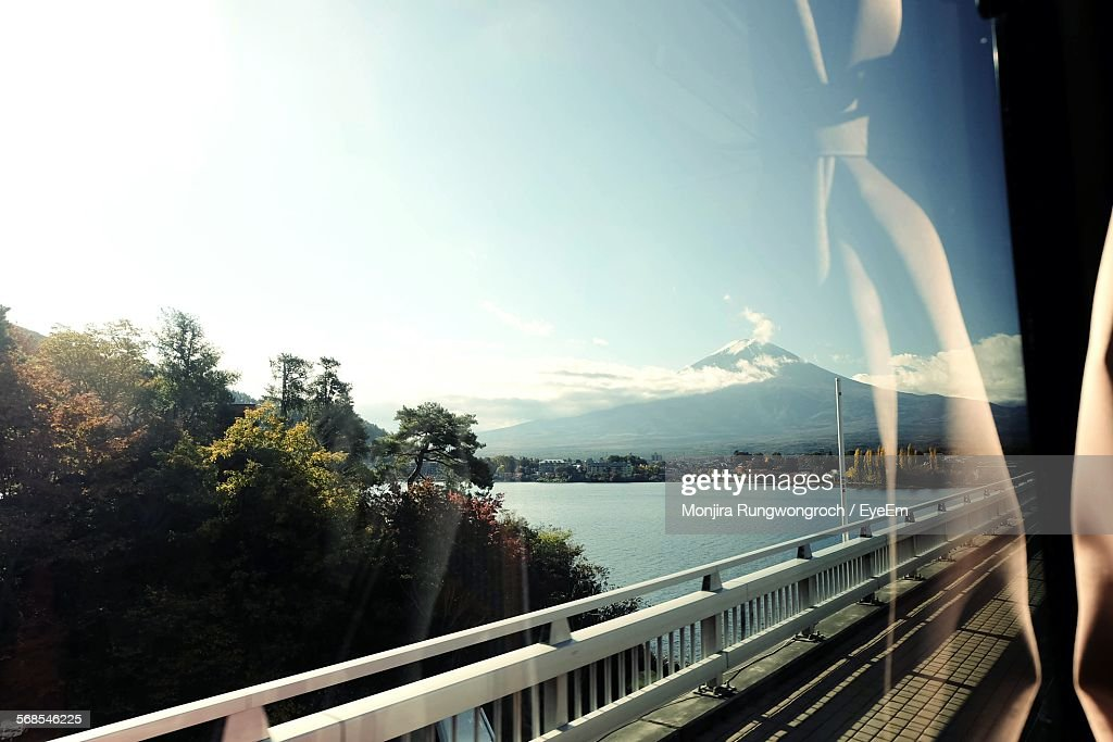Mount Fuji And Sea Seen Through Bus Window : Stock Photo