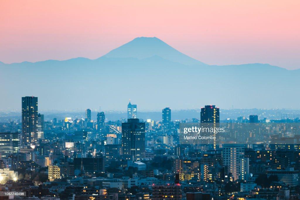 Mount Fuji and Tokyo downtown at sunset. Japan : Foto de stock