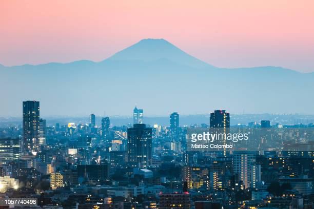 mount fuji and tokyo downtown at sunset. japan - japan stockfoto's en -beelden