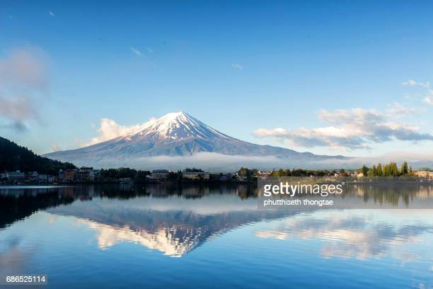 Mount Fuji at Lake kawaguchiko in Japan.
