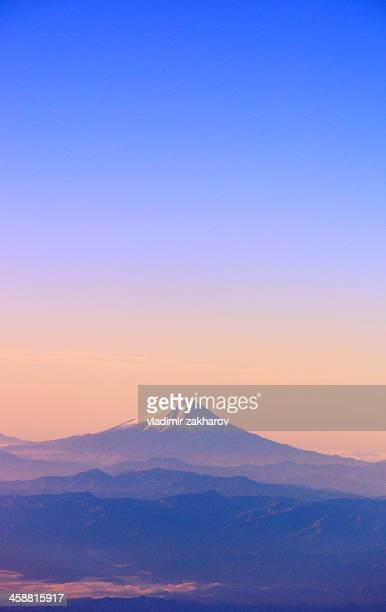 mount fuji at sunrise - mt fuji stock photos and pictures