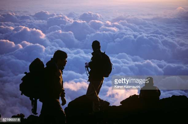 Mount Fuji Climbers at Dawn