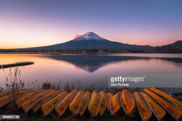 Mount Fuji from Lake Kawaguchiko in the autumn of November, yamanashi, japan