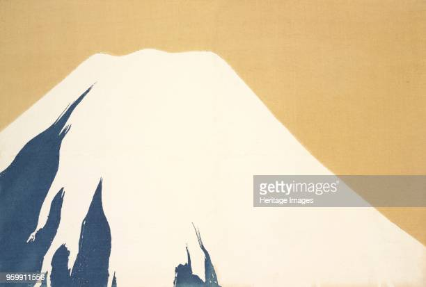 Mount Fuji fromMomoyogusa The World of Things Vol I pub1909 colour block woodcut View of Mount Fuji