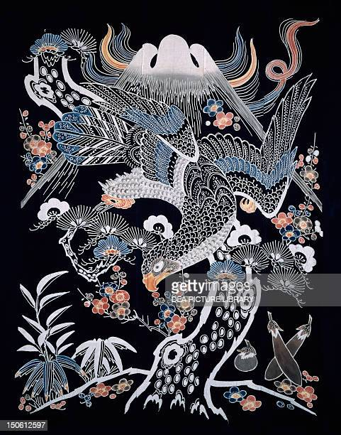 Mount Fuji hawk eggplant plum blossoms and bamboo detail of motifs for futonji bedspreads cotton dyes in reserve with rice starch and indigo pigments...