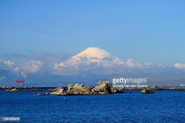 mount fuji in japan - zushi kanagawa stock photos and pictures