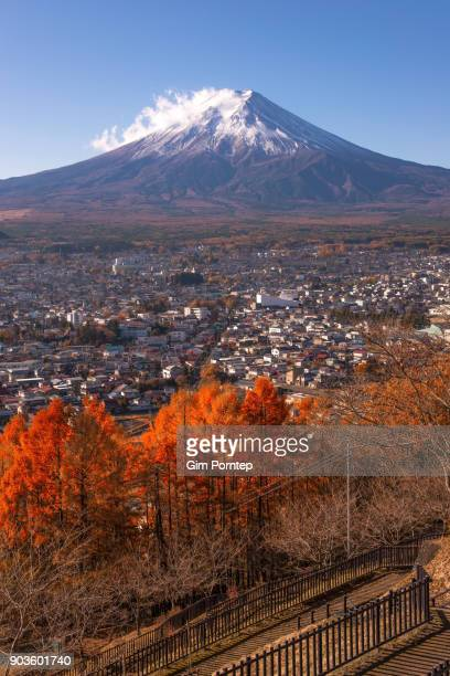 Mount Fuji in the autumn and red maple, yamanashi, japan