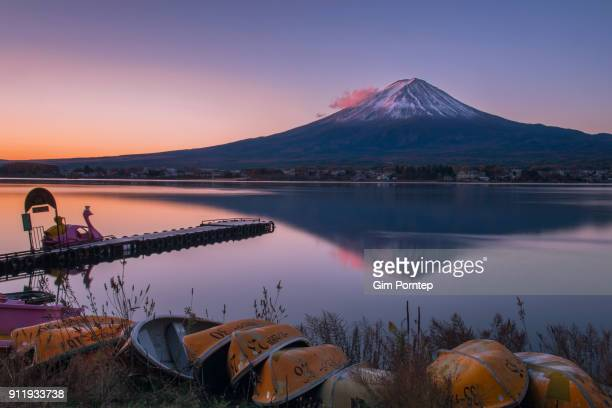 Mount Fuji in the morning at Kawaguchiko lake, Yamanashi, Japan