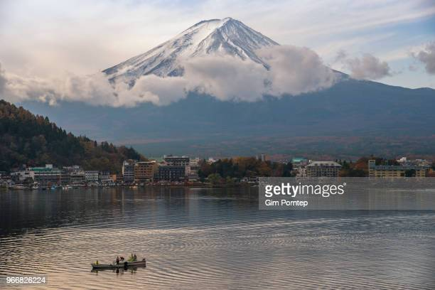 Mount Fuji on lake kawaguchiko , yamanashi , japan