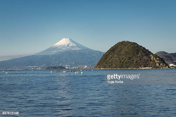 Mount Fuji over Surugabay and Mt. Ashitaka with the Ukishima island in the foreground