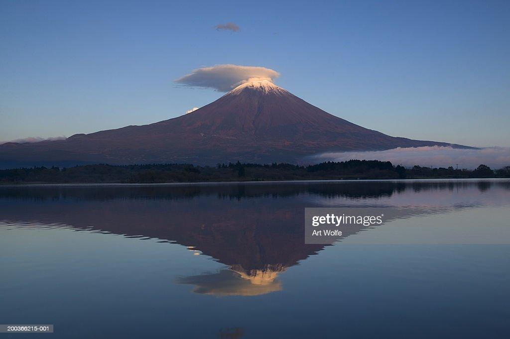 Mount Fuji reflected in Lake Motosu, Fuji-Hakone-Izu National Park, Honshu, Japan : Stock Photo