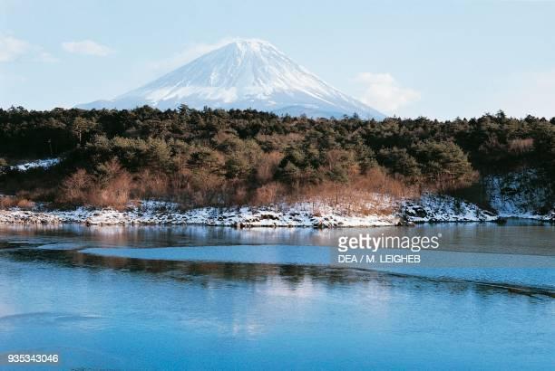 Mount Fuji seen from Lake Shoji, Chubu, Japan.