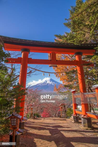 Mount Fuji view through Torii Shinto Shrine in Fujiyoshida city, yamanashi, japan
