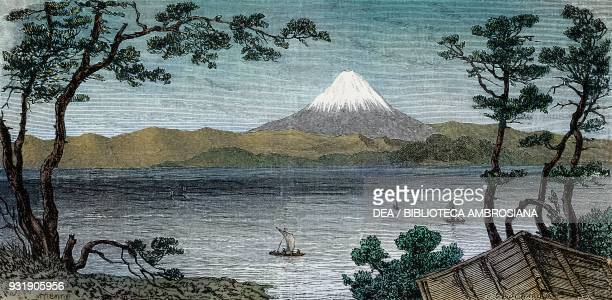 Mount Fuji volcano Japan drawing by Jean Louis Tirpenne from a watercolour by A Roussin from Japan by Aime Humbert 18631864 from Il Giro del mondo...