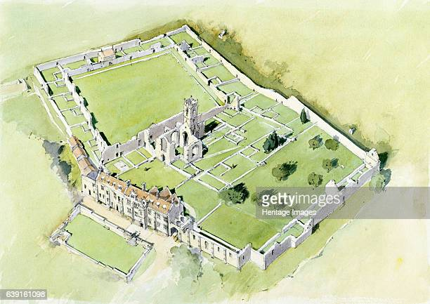 Mount Grace Priory, c15th century, . Aerial view reconstruction drawing of Mount Grace Priory, in East Harlsey, North Yorkshire, is one of the ten...