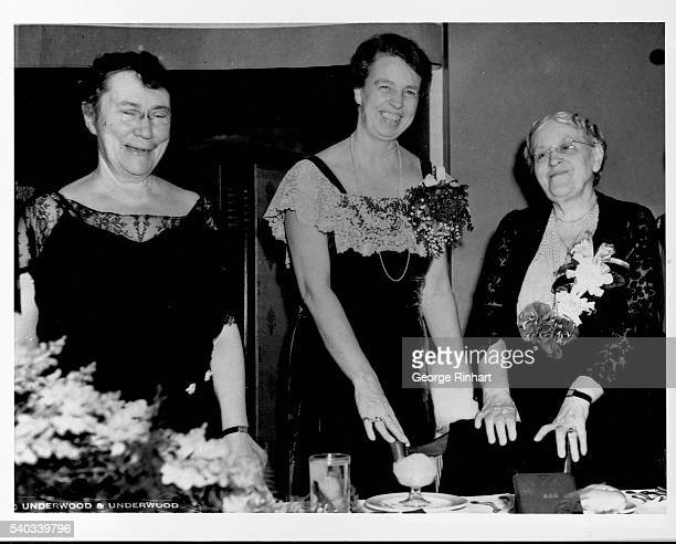 Mount Holyoke President Mary E Woolley First Lady Eleanor Roosevelt and suffragist Carrie Chapman Catt attend a banquet at the Washington Hotel given...