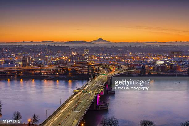 mount hood and morrison bridge - willamette river stock photos and pictures