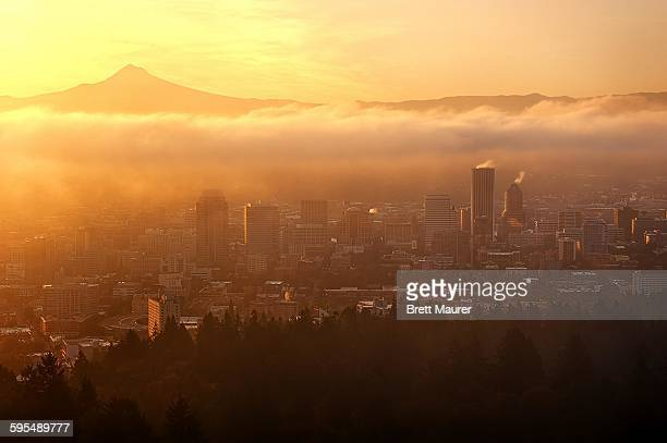 Mount Hood and Portland skyline at sunrise