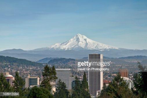 Mount Hood View with Portland Downtown Skyline