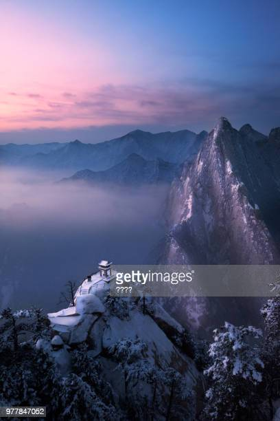mount hua at sunset, shaanxi, china - lotus flower peak stock pictures, royalty-free photos & images