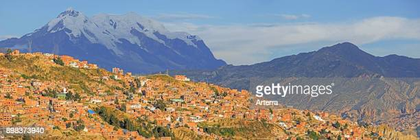 Mount Illimani, at 6.438 meter the highest mountain in the Cordillera Real, towering over the city La Paz, Bolivia.
