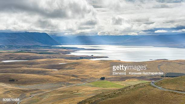 mount john observation point and lake tekapo - new zealand stockfoto's en -beelden