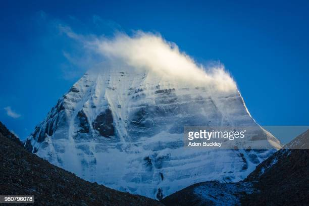 mount kailash in clouds, tibet, china - mt kailash stock pictures, royalty-free photos & images