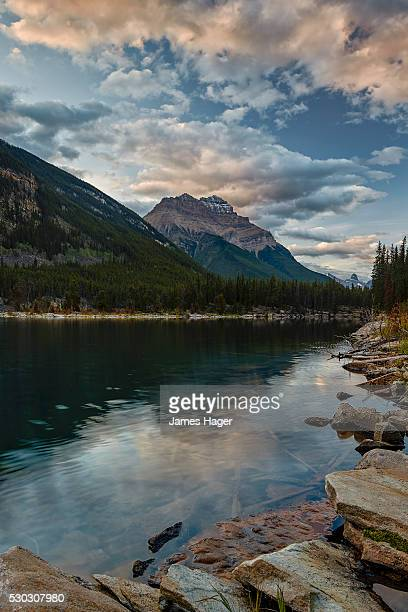 Mount Kerkeslin reflected in Horseshoe Lake, Jasper National Park, UNESCO World Heritage Site, Alberta, Rocky Mountains, Canada, North America