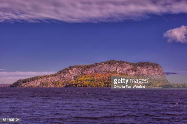 mount kineo from rockwood pier - moosehead lake stock photos and pictures