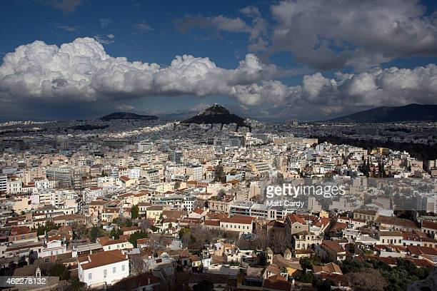 Mount Lycabettus is seen from the Acropolis following the electoral success by Syriza in the Greek general election yesterday on January 26 2015 in...