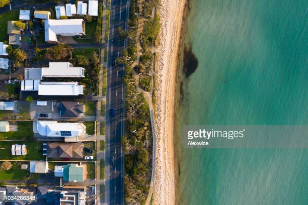 mount martha bathing huts aerial - melbourne australia stock pictures, royalty-free photos & images