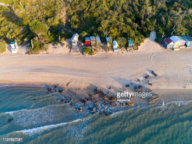 mount martha beach huts aerial - victoria australia stock pictures, royalty-free photos & images