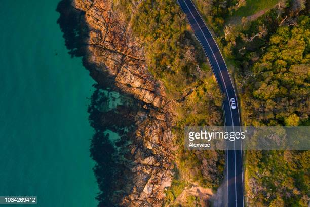 mount martha coastal road aerial - thoroughfare stock pictures, royalty-free photos & images