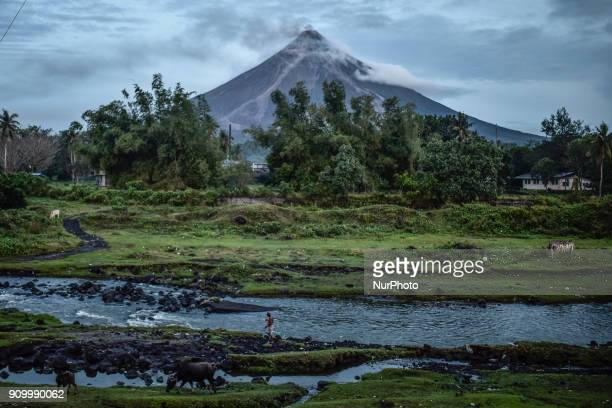 Mount Mayon as seen from Daraga Albay province Philippines morning of January 25 2018 Mount Mayon the Philipines' most active volcano located in...