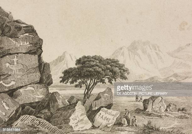 Mount Mokatib engraving by Chollet from Arabie by Noel Desvergers avec une carte de l'Arabie et note by Jomard L'Univers pittoresque published by...