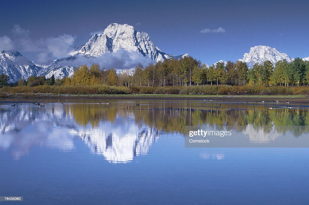 Mount Moran and Snake River : Stockfoto