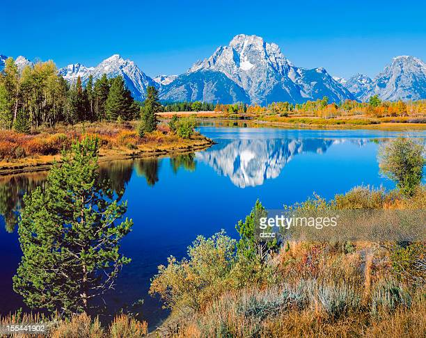 mount moran, snake river, tetons, oxbow bend, early autumn - jackson hole stock pictures, royalty-free photos & images