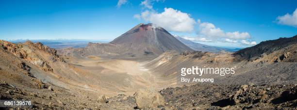 Mount Ngauruhoe (unofficial called Mt.Doom) in Tongariro national park with panorama view.