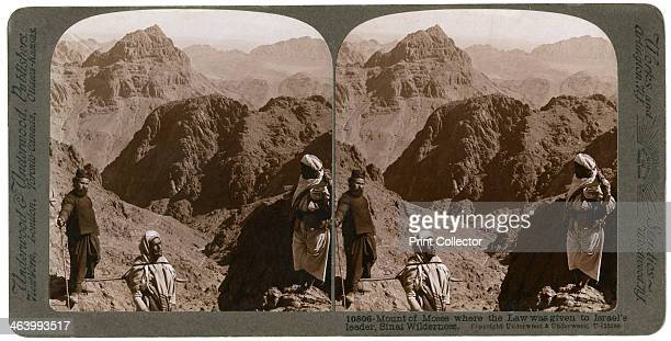 Mount of Moses where the law was given to Israel's leader the Sinai wilderness 1900s From a series called Travelling in the Holy Land Through the...