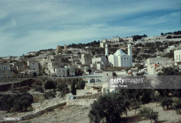 Mount of Olives, Bethphage and Bethany Bethany village, showing Church of Lazarus. John 111. 1948, West Bank, Bethany, Middle East.