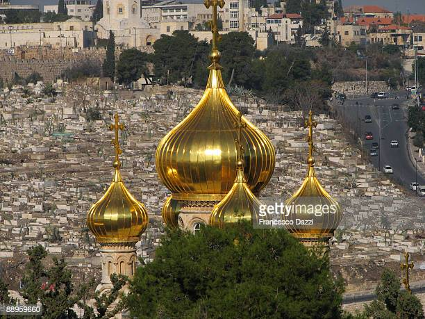 mount of olives - russian orthodox church of mary - mount of olives stock photos and pictures