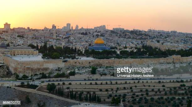 Mount of Olives view over Temple Mount and Mosques of Omar and El Aqsa Jerusalem Israel